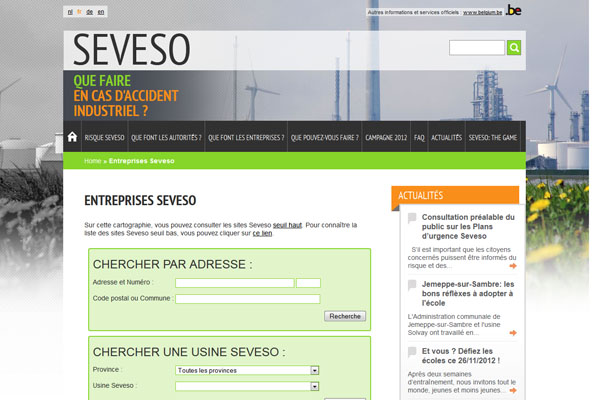 Application cartographique – Seveso.be